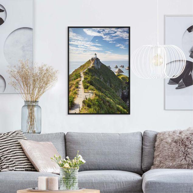 Bild mit Rahmen - Nugget Point Leuchtturm und Meer Neuseeland - Hochformat 3:4
