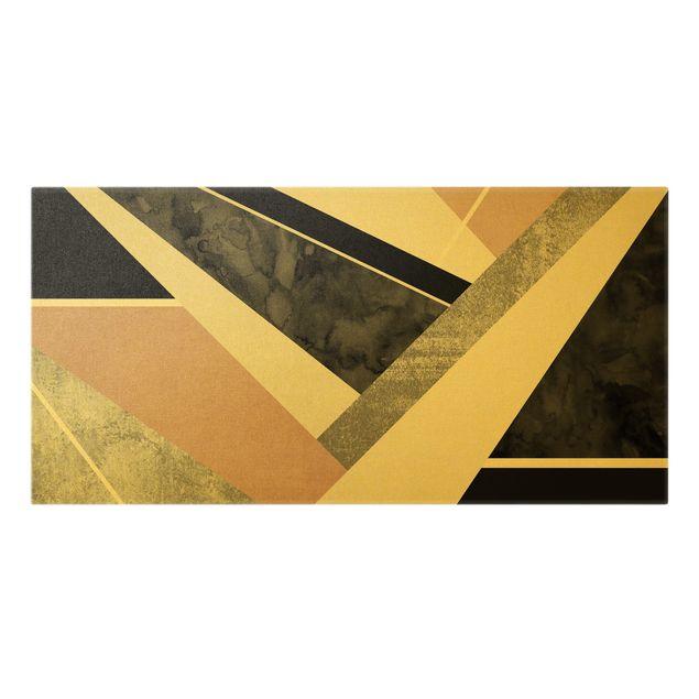 Leinwandbild Gold - Goldene Geometrie - Rosa Schwarz - Querformat 2:1