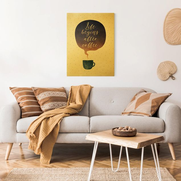 Leinwandbild Gold - Life Begins After Coffee Punkte - Hochformat 3:4