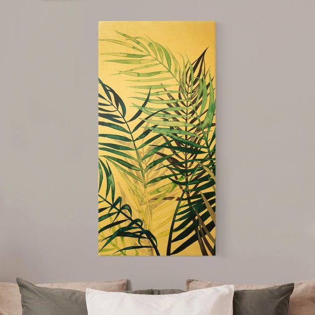 Leinwandbild Gold - Exotisches Blattwerk - Palme - Hochformat 1:2