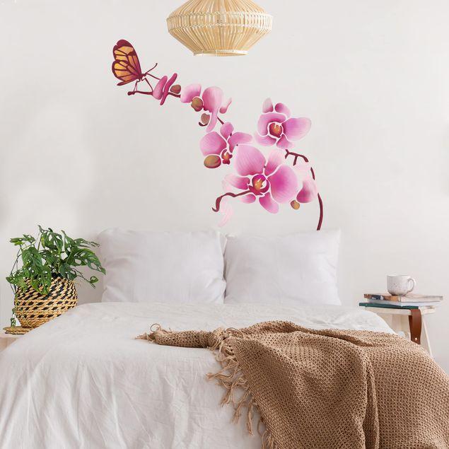 Wandsticker Orchidee mit Schmetterling