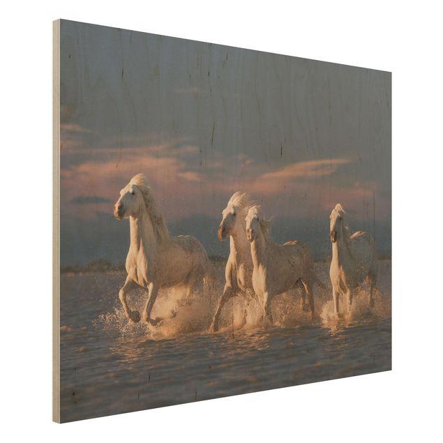 Holzbild - Wilde Pferde in Kamargue - Querformat 3:4