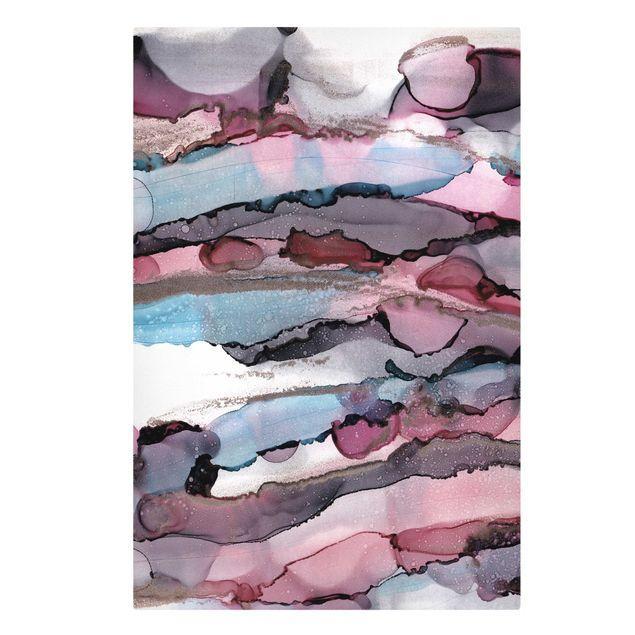 Leinwandbild - Wellenreiten in Violett mit Roségold - Hochformat 2:3