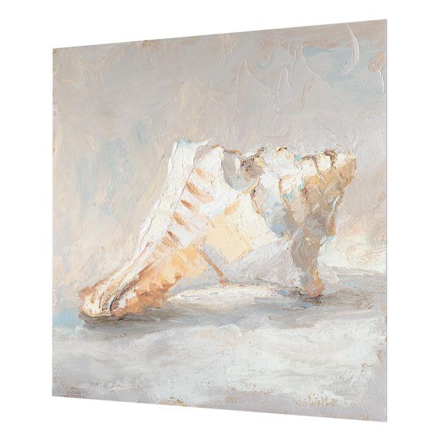 Glas Spritzschutz - Muschel-Studie I - Quadrat - 1:1