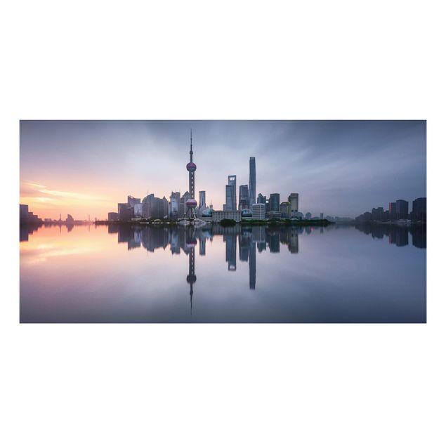 Forex Fine Art Print - Shanghai Skyline Morgenstimmung - Querformat 1:2