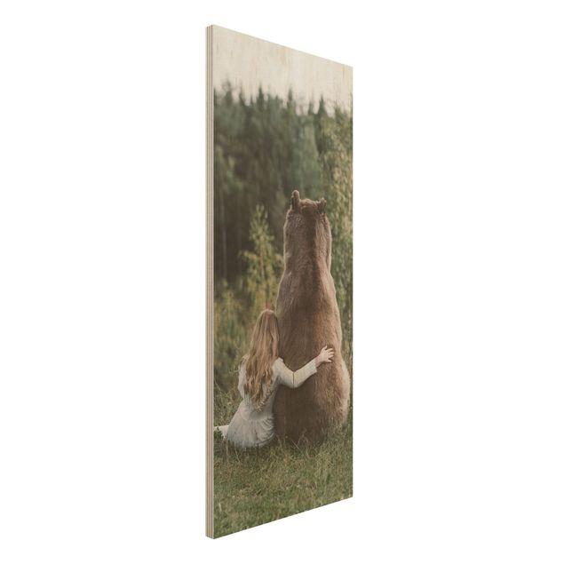 Holzbild - Mädchen mit Braunbär - Panel