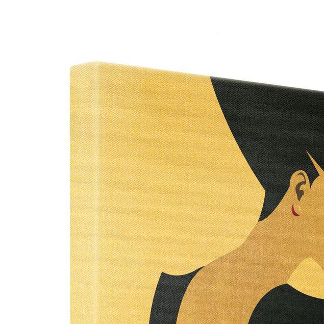 Leinwandbild Gold - Dame mit Hut in Dunkelblau - Quadrat 1:1