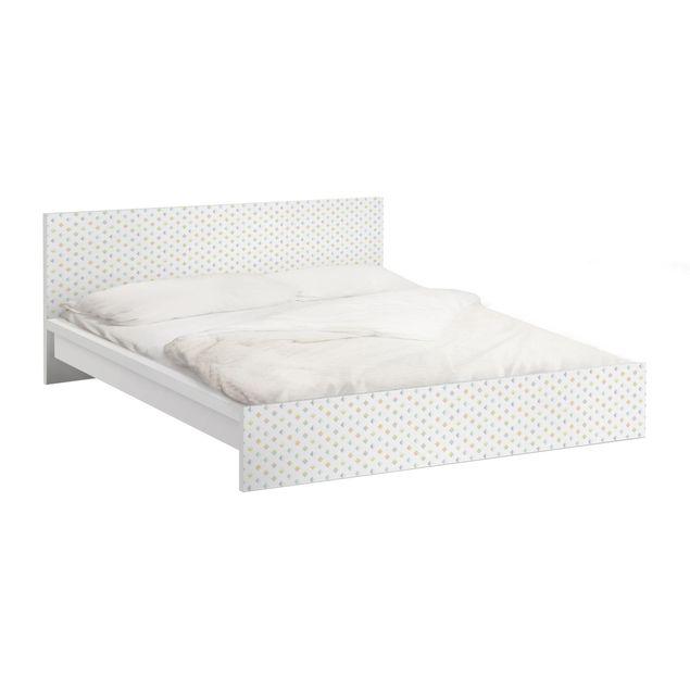 Möbelfolie für IKEA Malm Bett niedrig 140x200cm - Pastell Dreiecke