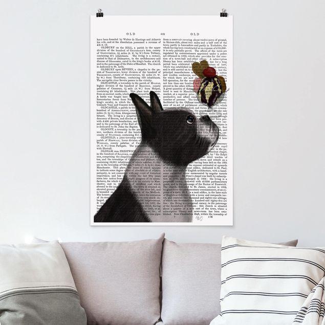 Poster - Tierlektüre - Terrier mit Eis - Hochformat 3:2