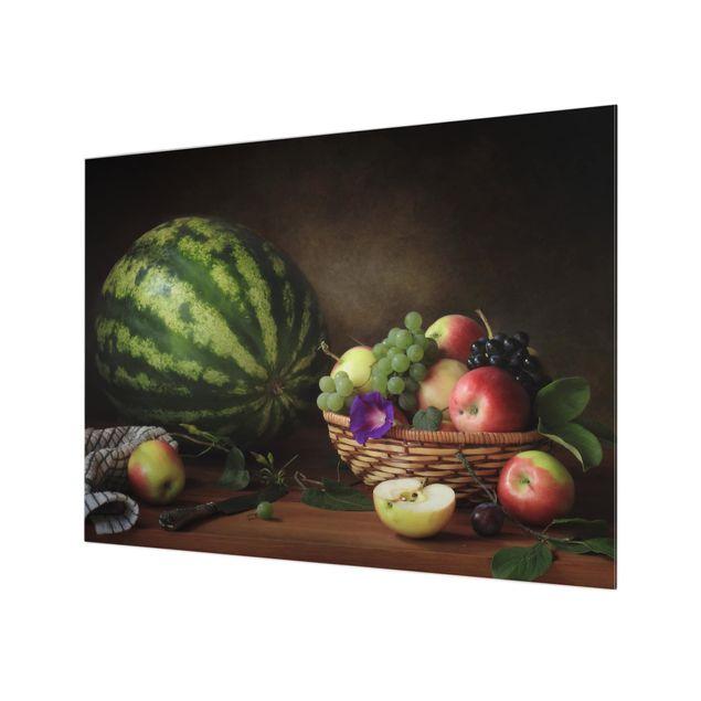 Glas Spritzschutz - Stillleben mit Melone - Querformat - 4:3