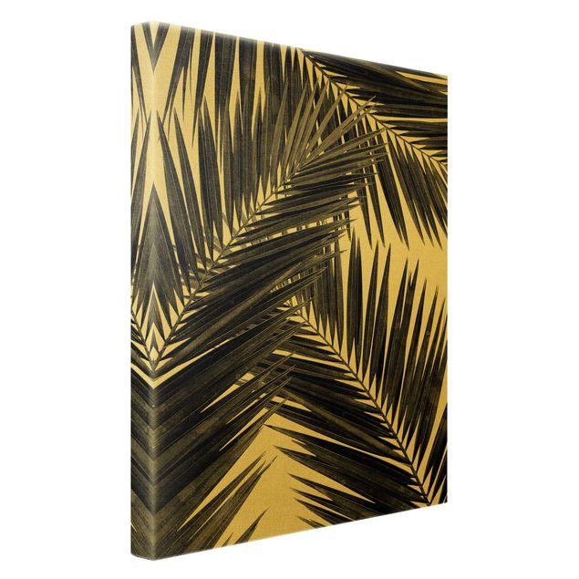 Leinwandbild Gold - Blick durch Palmenblätter schwarz weiß - Hochformat 2:3