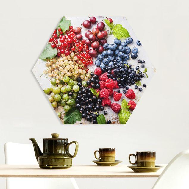 Hexagon Bild Forex - Mischung aus Beeren auf Metall