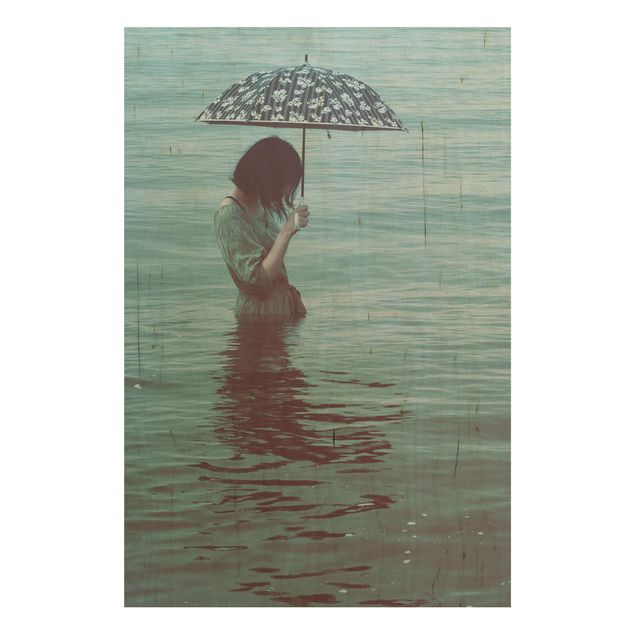 Holzbild - Spaziergang im Wasser - Hochformat 3:2