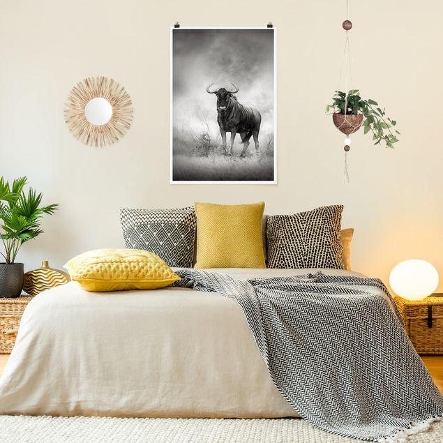 Poster - Staring Wildebeest - Hochformat 3:2