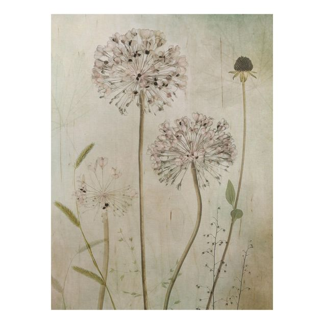 Holzbild - Lauchblüten in Pastell - Hochformat 4:3