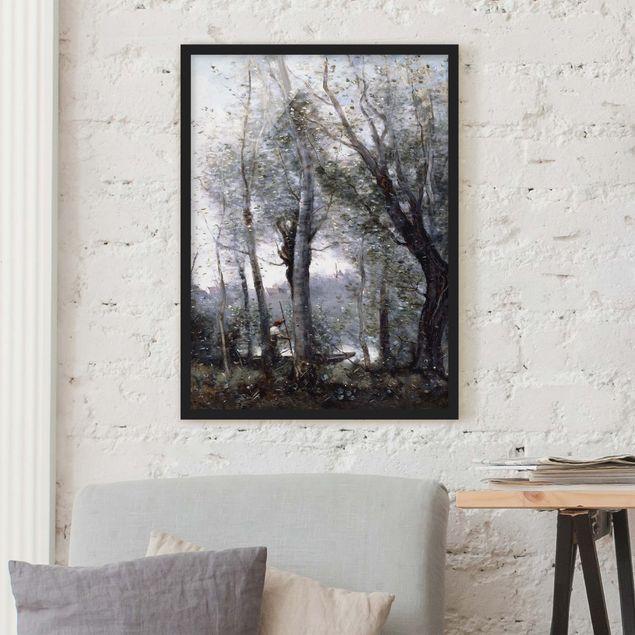 Bild mit Rahmen - Jean-Baptiste Camille Corot - Ein Flussschiffer - Hochformat 3:4