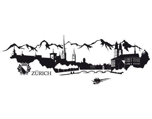 Wandtattoo Skyline No.RS3 Skyline Zürich