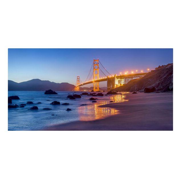 Leinwandbild - Golden Gate Bridge am Abend - Querformat 2:1