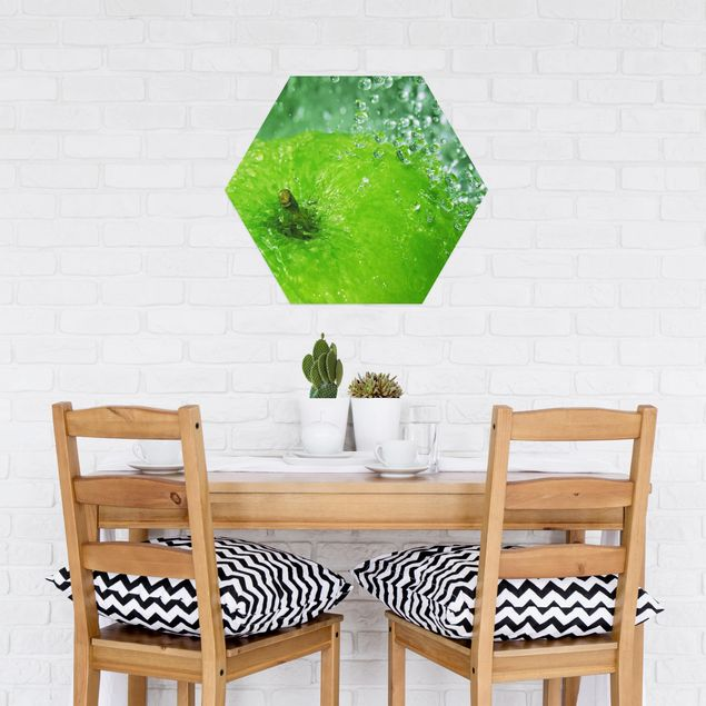 Hexagon Bild Alu-Dibond - Green Apple