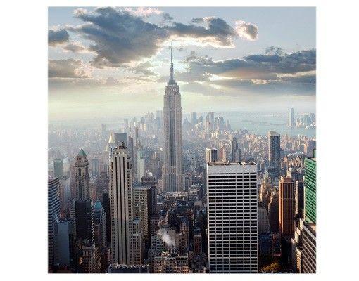 Fensterfolie - Sichtschutz Fenster Sonnenaufgang in New York - Fensterbilder