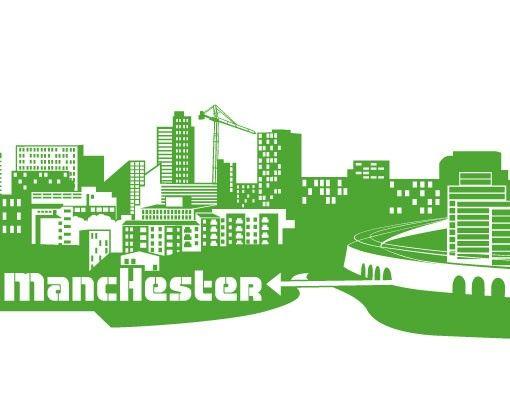 Stadt Manchester - Wandtattoo Skyline - No.FB48 Manchester Skyline XXL