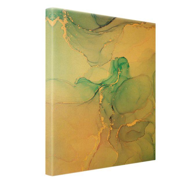 Leinwandbild Gold - Aquarell Pastell Türkis mit Gold - Hochformat 3:4