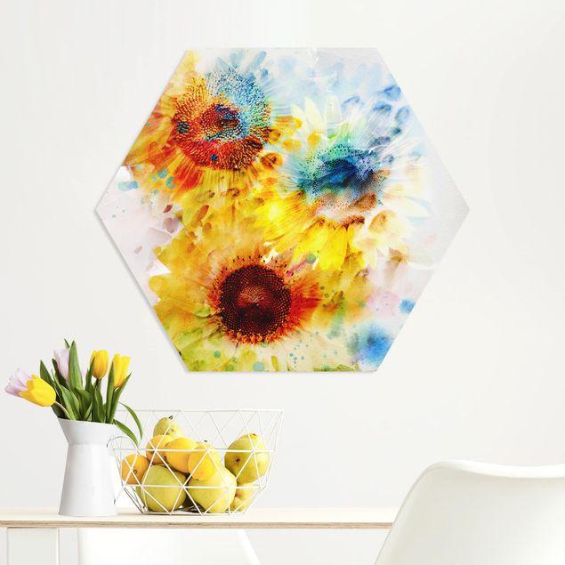 Hexagon Bild Forex - Aquarell Blumen Sonnenblumen