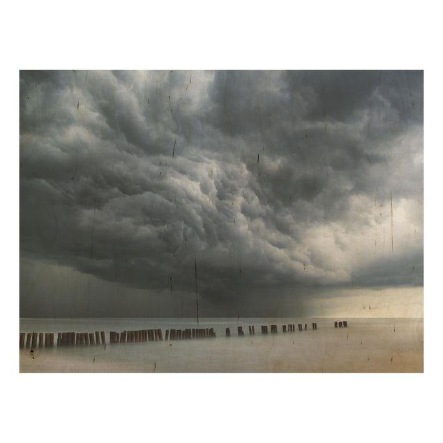 Holzbild - Sturmwolken über der Ostsee - Querformat 3:4