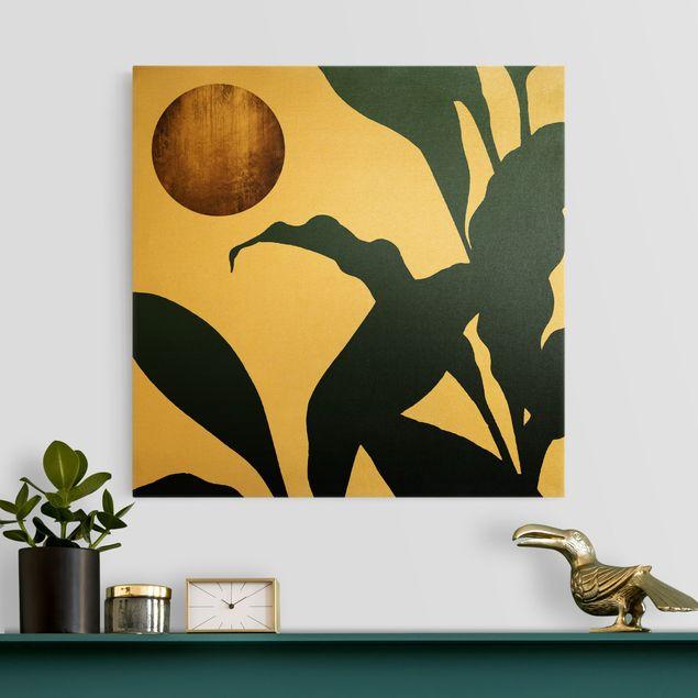 Leinwandbild Gold - Goldener Mond im Dschungel - Quadrat 1:1