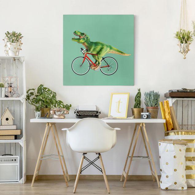 Leinwandbild - Jonas Loose - Dinosaurier mit Fahrrad - Quadrat 1:1