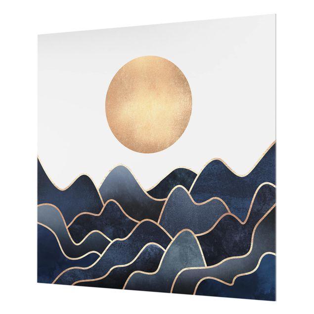 Glas Spritzschutz - Goldene Sonne blaue Wellen - Quadrat - 1:1