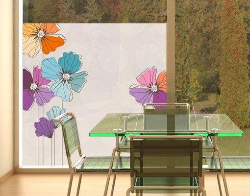 Fensterfolie - Sichtschutz Fenster Mohn in Pastell - Fensterbilder