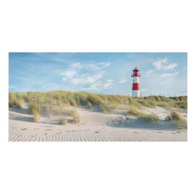 Leinwandbild - Leuchtturm an der Nordsee - Querformat 2:1