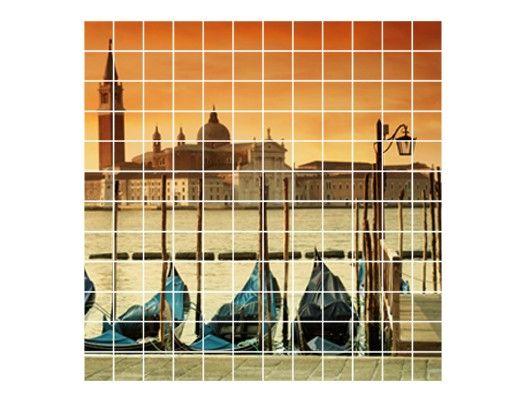 Fliesenbild - Gondeln in Venedig