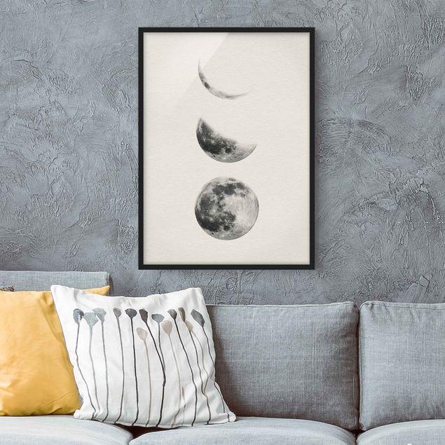 Bild mit Rahmen - Drei Monde - Hochformat 3:4