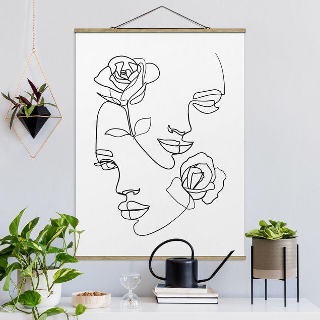 Stoffbild mit Posterleisten - Line Art Gesichter Frauen Rosen Schwarz Weiß - Hochformat 4:3