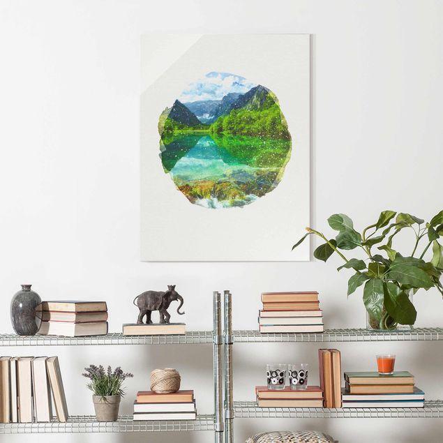 Glasbild - Wasserfarben - Bergsee mit Spiegelung - Hochformat 4:3