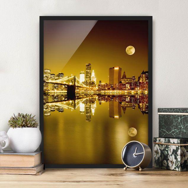 Bild mit Rahmen - Goldenes New York - Hochformat 3:4