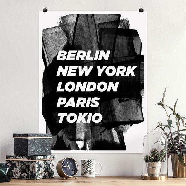 Poster - Berlin New York London - Hochformat 3:4