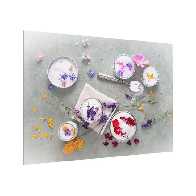 Glas Spritzschutz - Essbare Blüten mit Lavendelzucker - Querformat - 4:3