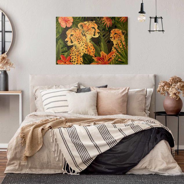 Leinwandbild Gold - Gepardentrio im Dschungel - Querformat 3:2