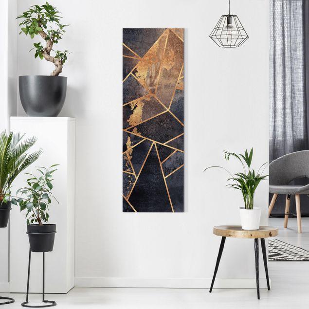 Leinwandbild - Elisabeth Fredriksson - Onyx mit Gold - Panorama Hochformat 1:3