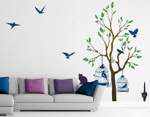 Wandtattoo Baum Vögel Katze No.RS57 Katzen und Vögel