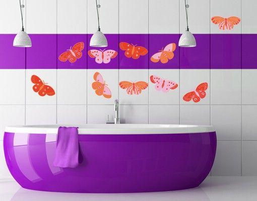 Wandtattoo Schmetterling No.UL722 Falter Rot-Orange 10er Set