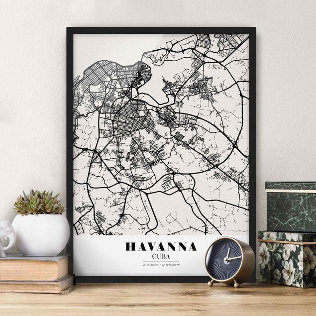 Bild mit Rahmen - Stadtplan Havanna - Klassik - Hochformat 3:4