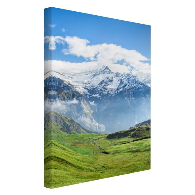 Leinwandbild - Schweizer Alpenpanorama - Hochformat 2:3