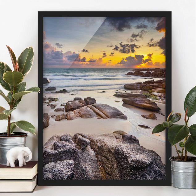 Bild mit Rahmen - Strand Sonnenaufgang in Thailand - Hochformat 3:4