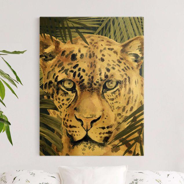 Leinwandbild Gold - Leopard im Dschungel - Hochformat 3:4