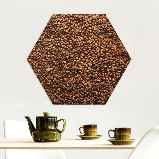 Hexagon Bild Alu-Dibond - Sea Of Coffee