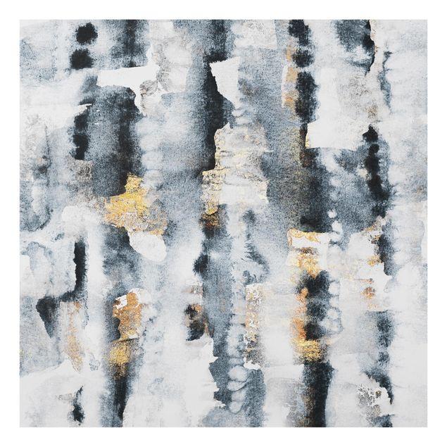 Glas Spritzschutz - Abstraktes Aquarell mit Gold - Quadrat - 1:1